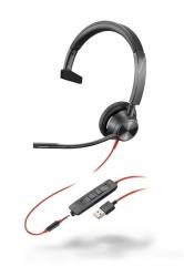 BlackWire 3315 USB-A - проводная гарнитура для ПК и мобильных устройств с шумоподавлением, моно, USB