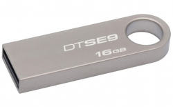 Флешка USB KINGSTON DataTraveler SE9 16Гб, USB2.0, серебристый [dtse9h/16gb]